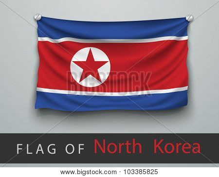 Flag Of North Korea  Battered, Hung On The Wall