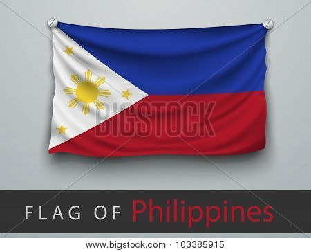 Flag Of Philippines Battered, Hung On The Wall