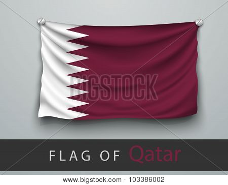 Flag Of Qatar Battered, Hung On The Wall