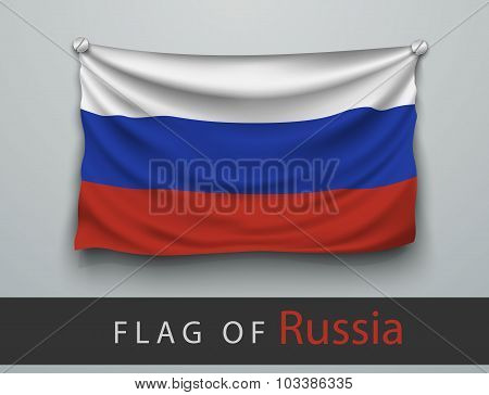 Flag Of Russia Battered, Hung On The Wall