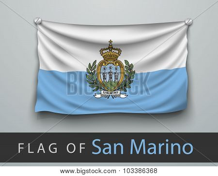 Flag Of San Marino Battered, Hung On The Wall