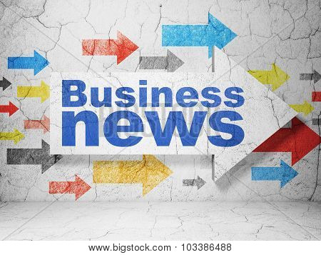 News concept: arrow with Business News on grunge wall background