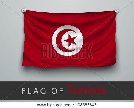 Flag Of Tunisia Battered, Hung On The Wall