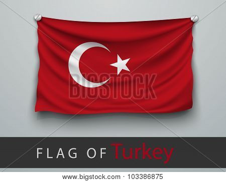 Flag Of Turkey Battered, Hung On The Wall