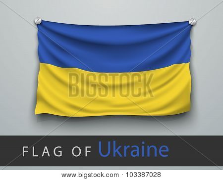 Flag Of Ukraine Battered, Hung On The Wall