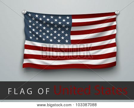 Flag Of Usa Battered, Hung On The Wall