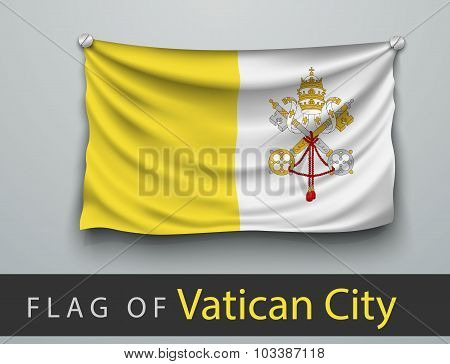 Flag Of Vatican City Battered, Hung On The Wall