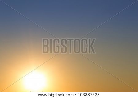 sunset sky background - sun and clear sky - color gradient