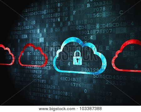 Cloud computing concept: Cloud With Padlock on digital background