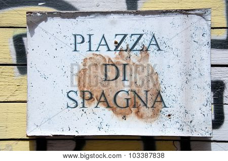 Road Sign Indicating A Street Name In Italian