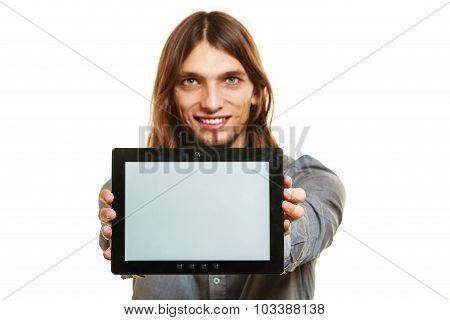 Man Holding Pc Tablet. Blank Screen Copyspace.