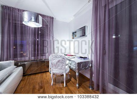 Study work in modern apartment interior