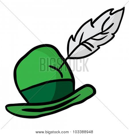 green hat with feather
