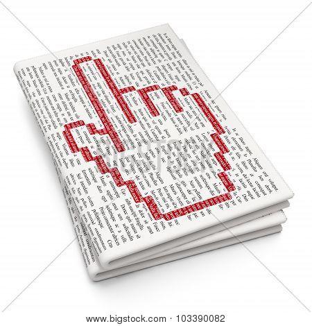 Social media concept: Mouse Cursor on Newspaper background