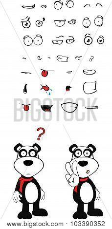teddy panda bear cartoon set
