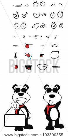 singboard teddy panda bear cartoon emotions set