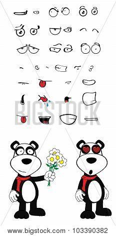 flowers teddy panda bear cartoon emotions set
