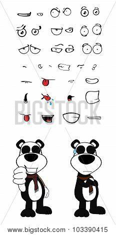 teddy panda bear cartoon expression set