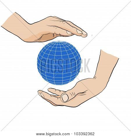 Two hands holding  blue globe. Global Earth Care.