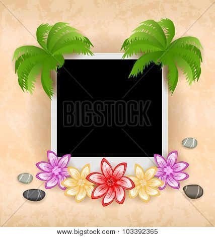 Photo frame with palm, flowers, sea pebbles