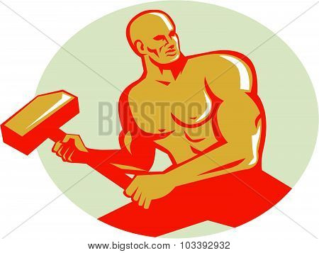 Athlete With Sledgehammer Training Oval Retro