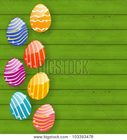Easter colorful eggs on wooden texture