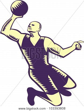 Basketball Player Dunk Ball Woodcut