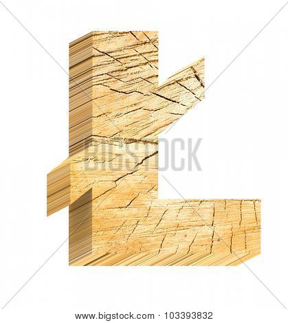 Pound sign from pine wood alphabet set isolated over white. Computer generated 3D photo rendering.