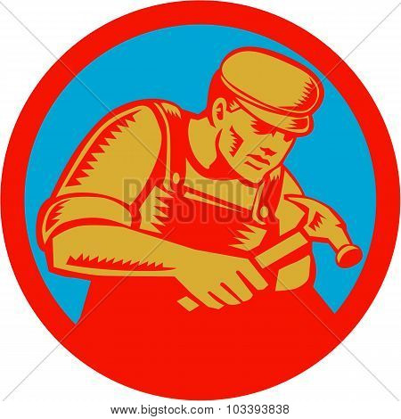 Carpenter With Hammer Circle Woodcut