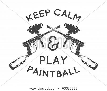 Paintball logo template. Paintballing poster design. Vector illustration.