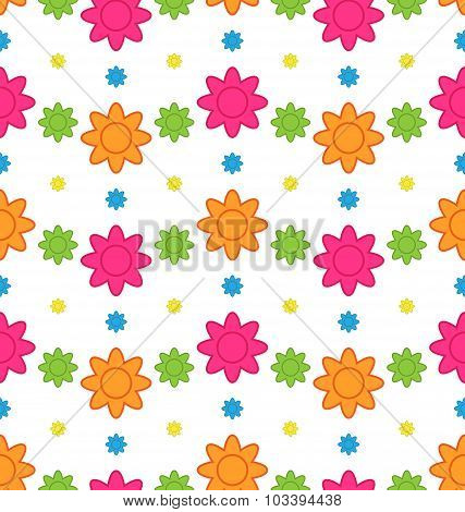 Seamless Floral Pattern with Colorful Flowers, Beautiful Pattern