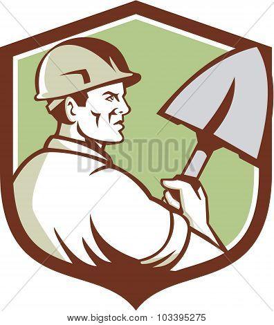 Construction Worker Spade Crest Retro