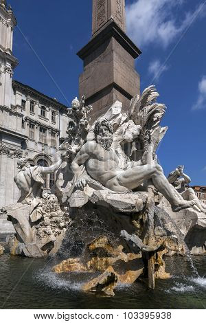 Fountain Of The Four Rivers In The Piazza Navona