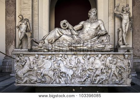 Ancient Roman River God's Statue In The Vatican Museum