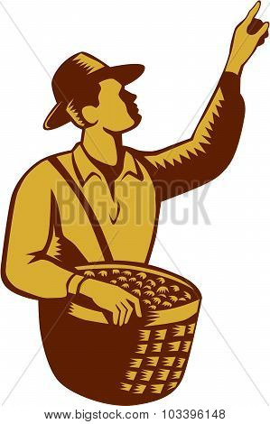 Fruit Picker Worker Pointing Woodcut