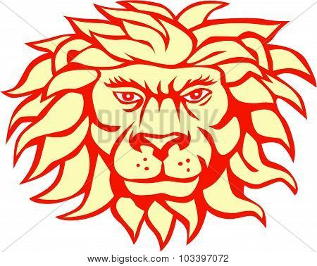 Angry Lion Big Cat Head Retro