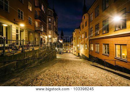 Buildings Along Bellmansgatan At Night, In Södermalm, Stockholm, Sweden.