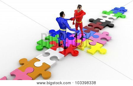3D Superheros Shaking Hands On Puzzle Path Concept