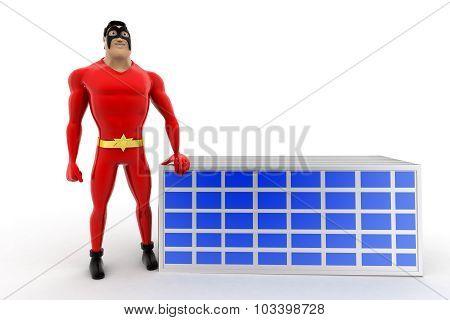 3D Superhero Presenting Solar Panel Concept