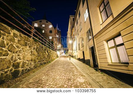 Bastugatan At Night, In Södermalm, Stockholm, Sweden.