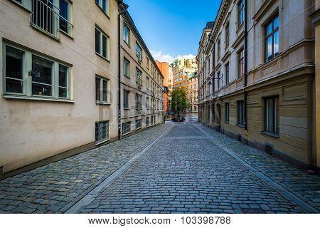 Bastugatan, A Narrow Cobblestone Street In Södermalm, Stockholm, Sweden.