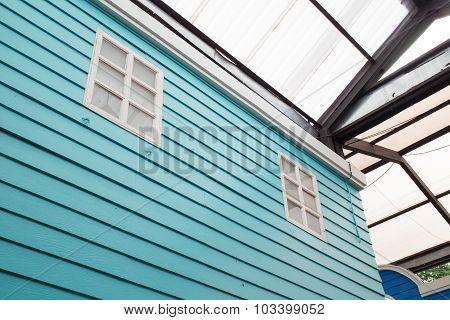 White Window On Wood Wall Design Vintage Decoration House