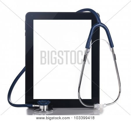 Blank tablet and stethoscope isolated on white