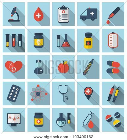 Collection trendy flat medical icons with long shadow