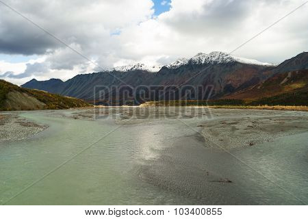 Turquoise Water Gulkana River Flows By Alaska Range