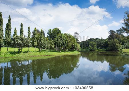 Beautiful Lake In The Spring Park With Blue Sky And Clouds