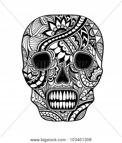 Decorate Skull painted ornament black on white