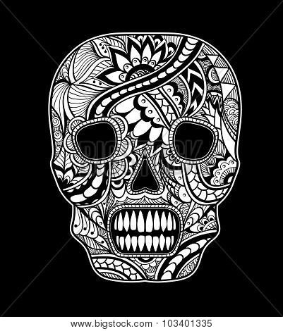 Decorate Skull painted ornament white on black