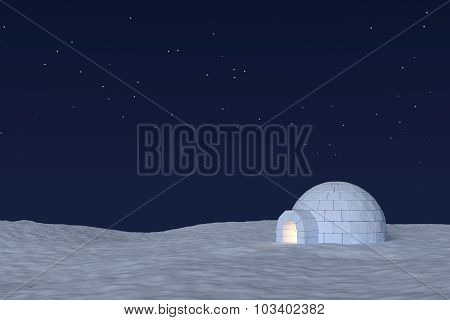 Igloo Icehouse With Warm Light Inside Under Sky With Stars