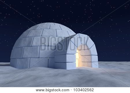 Igloo Icehouse With Warm Light Inside Under Night Sky With Stars Close-up